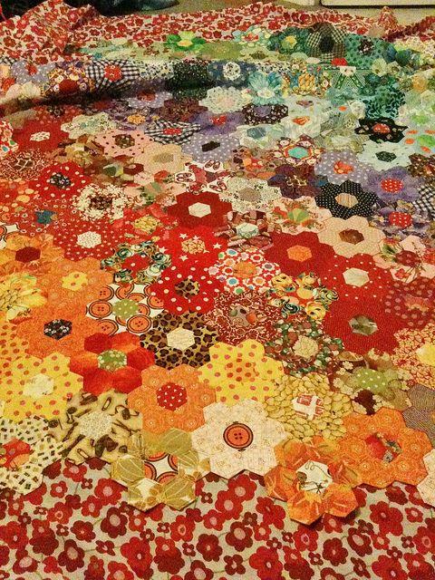 Hexagon Patchwork Quilt by Littlelixie, via Flickr