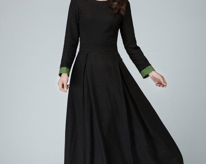 Vestito nero manica lunga vestito, vestito da Promenade, abito in lino, maxi abiti per donne, completo abito, lunga festa vestito con polsino contratto 1450