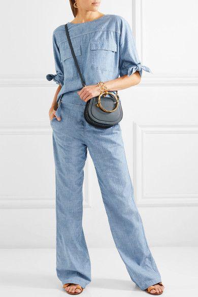 Chloé - Cotton-chambray Wide-leg Pants - Light blue