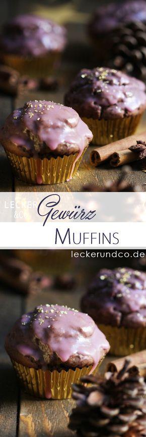 Muffins mit Lebkuchengewürzen und Rotweinglasur