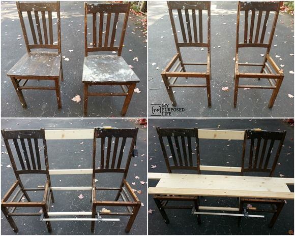How to make a triple chair bench out of two chairs in this repurposed chair bench blog post tutorial.