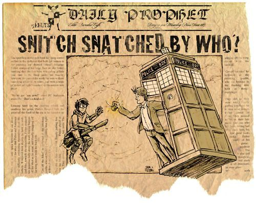 harry potter and doctor who cross over fanart in the daily prophet