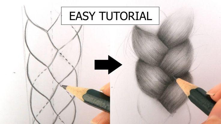 braid realistic drawing draw beginners tutorial plait easy drawings hairstyle paintingvalley