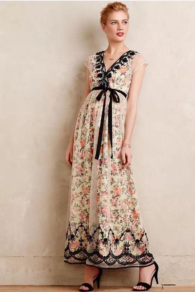 Anthropologie Glasshouse Maxi Dress Vineet Bahl Size 0 Floral Beaded Tulle Cream  | eBay