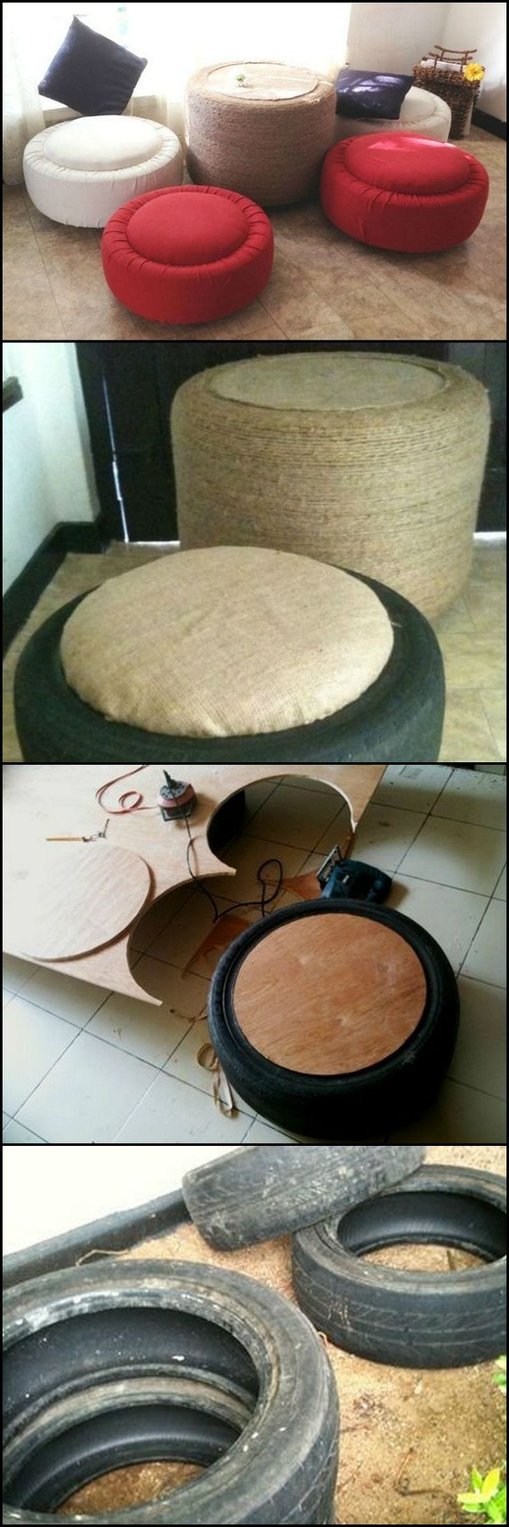 Do-It-Yourself Tire Table and Ottoman  http://theownerbuildernetwork.co/72z0  Got some old tires? Here's a great way to help yourself and the environment… recycle them by turning them into an ottoman or a table.