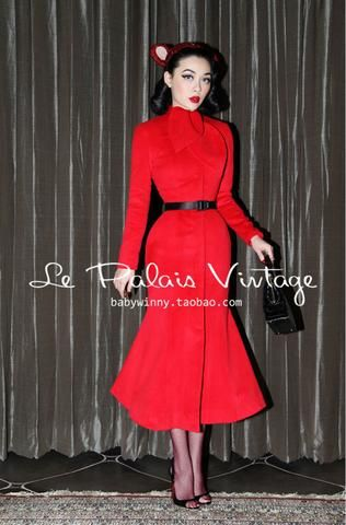 187e968d463e Le Palais Vintage (limited edition) 1940's Retro Red Christmas Cashmere Coat  | Le Palais Vintage Collection | Pinterest | Red christmas, Cashmere and  Retro
