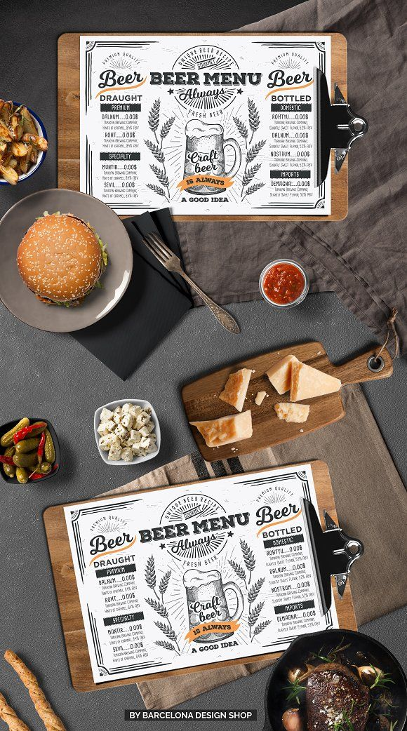 Beer Menu Template. FREEBIE: 100 Free Food Illustrations for your next design project here ➝ http://barcelonadesignshop.com/100-free-food-illustrations/. This free bundle include hand drawn graphic vegetables, fruits, desserts, drinks, berries, nuts.
