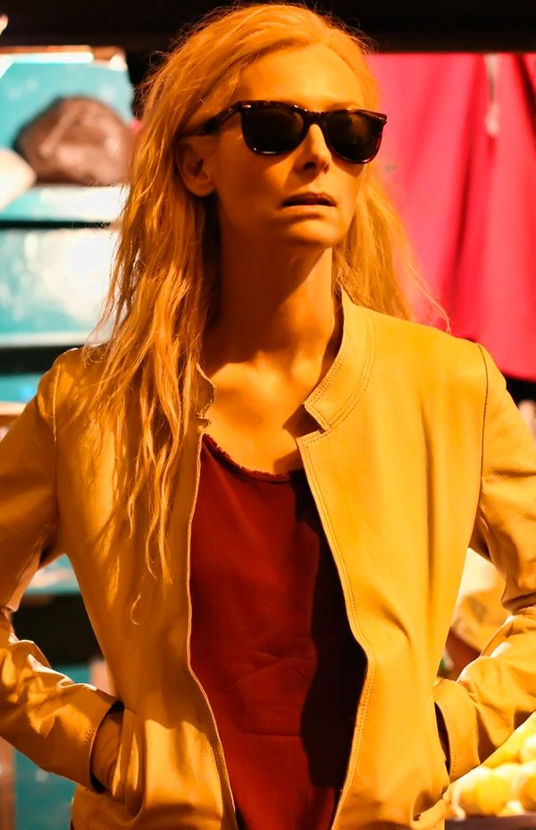 Tilda Swinton as Eve in Only Lovers Left Alive.  Her character is a Vampire, yet she has more humanity than most humans. She sees so much beauty in everything. I like how she doesn't trash other women. A character with integrity.