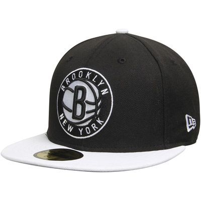 Mens Brooklyn Nets Black/White Team Logo 59FIFTY Fitted Hat