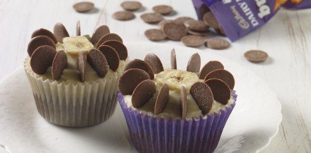 Cadburys fairtrade chocolate buttons Banana flower cupcakes