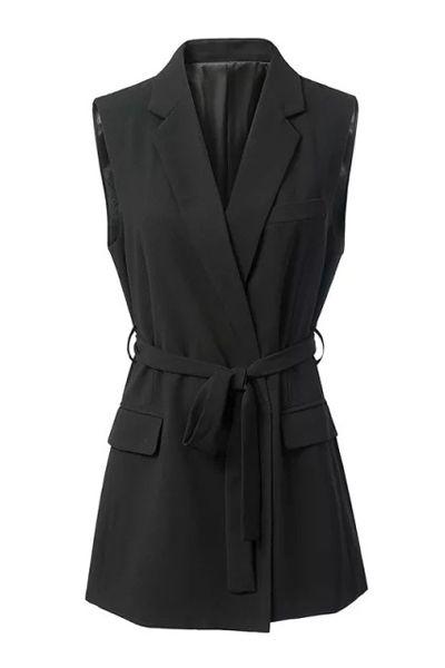 Black Stylish Lapel Collar Women's Waistcoat