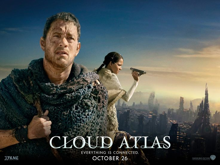 "Cloud Atlas -The 2012 German drama/ science fiction film written, produced and directed by Lana and Andy Wachowski and Tom Tykwer. Adapted from the 2004 David Mitchell novel, it features multiple plotlines set in six different eras.  ""An exploration of how the actions of individual lives impact one another in the past, present and future, as one soul is shaped from a killer into a hero, and an act of kindness ripples across centuries to inspire a revolution."""