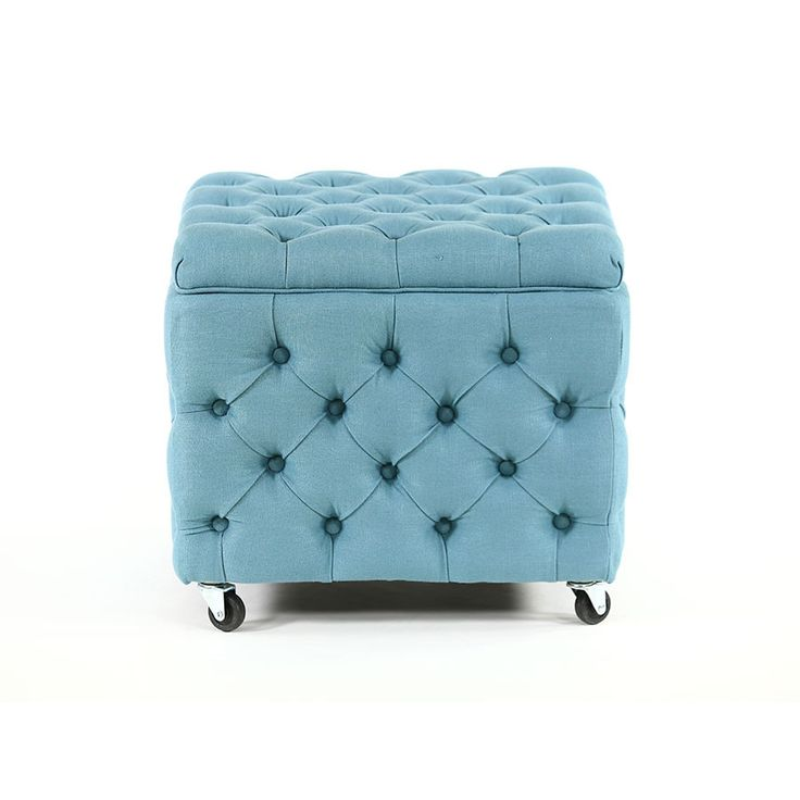 Our beautifully designed square storage ottoman in Tealis a stand out, not only for its lovely soft buttoned exterior, also for its functional interior. Gli...