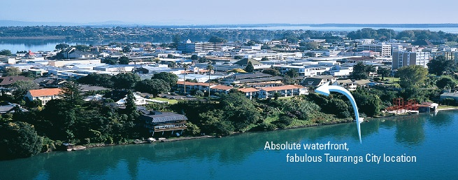 The Tauranga on the Waterfront is easy to find at its Second Avenue location. Tauranga City has an Avenue grid; Second Avenue is at the southern side of the CBD.