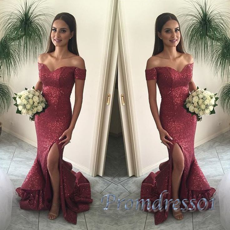 Elegant off-shoulder red chiffon sequins Prom Dress with slit, ball gown 2016 #coniefox