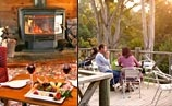 sit next to the fire or out on the deck with a glass of wine at cradle chalet tasmania