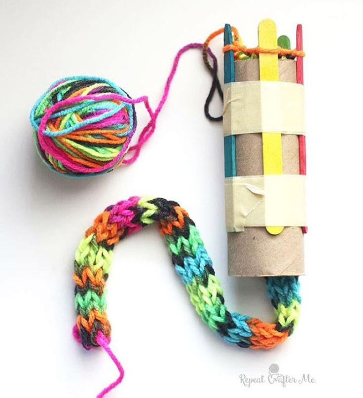 """With a cardboard roll, popsicle sticks, and fun variegated yarn, you can create a knitted snake! Great project for the kids and a boredom buster during…"""