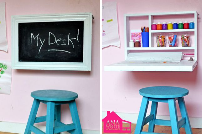 Flip down kids' art desk | 40 Brilliant DIY Organization Hacks via Brit + Co.
