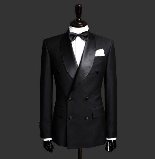Hot Sale Black Shawl Lapel Double Breasted Business Men Suits 2 Pieces Custom Made Wedding Tuxedo For Men (Jacket+Pant+BowTie)