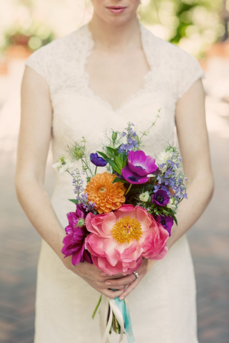 bright mix of anemones, peonies, dahlias and delphinium | Justin Lee Photography | Theknot.com
