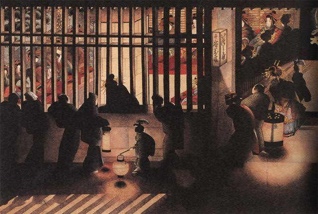 葛飾応為(Katsushika Ohi) 吉原格子先之図