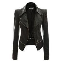 2016 nueva moda de estilo europeo mujeres chaqueta corta Casual delgado de piel Pu mujeres abrigos da vuelta abajo más el tamaño 3XL()