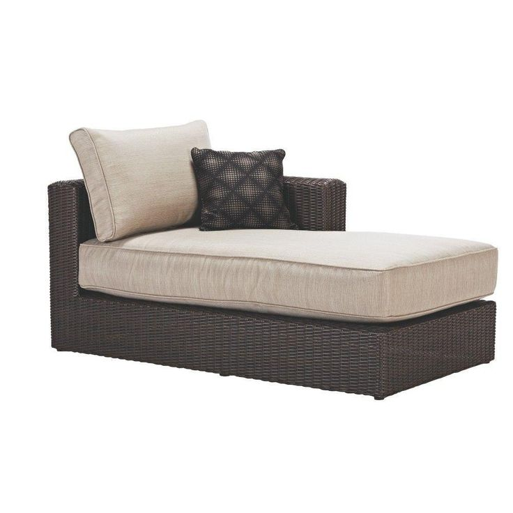 Captivating Home Decorators Collection Naples All Weather Dark Wicker Patio Left Arm  Sectional Chaise With Putty Cushions Great Ideas