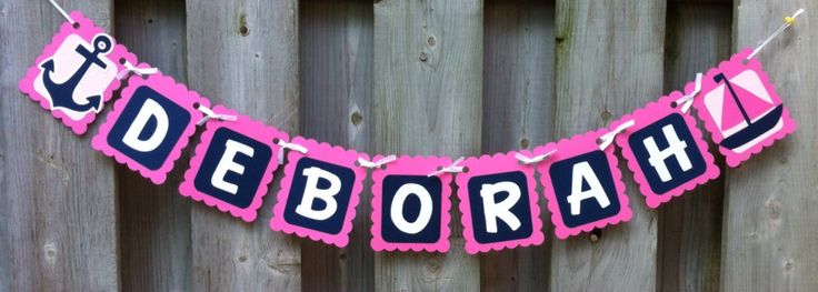 Hot Pink and Navy blue nautical theme name banner sailboats anchors baby shower…