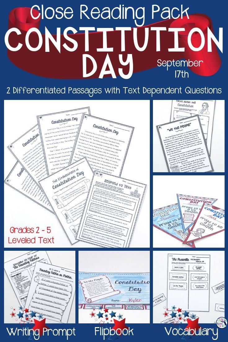 This Differentiated Close Reading Pack Will Give You 5 Days Of Social Studies Content And Activities Fo Constitution Day Close Reading Activities Close Reading [ 1102 x 735 Pixel ]