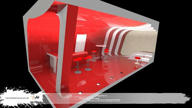 infografía 3d stand rojo