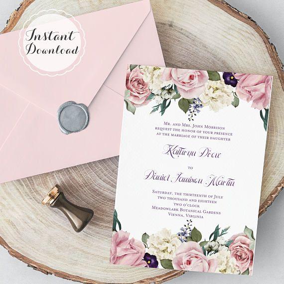 English Garden Floral Bridal Shower Invitation Wedding Invitation