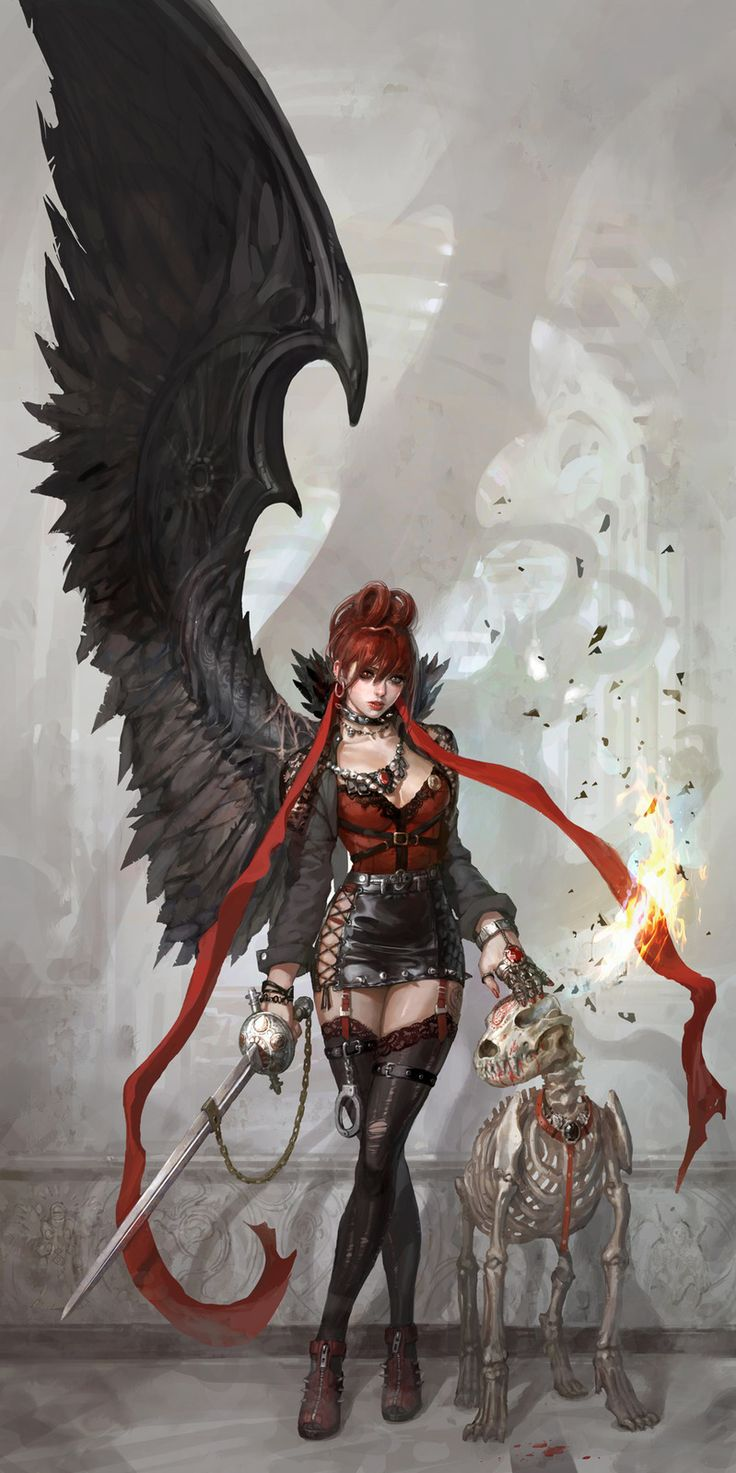 Evil and dog Picture (2d, illustration, fantasy, girl, woman, demon)