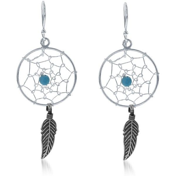 La Preciosa Sterling Silver Feather and Turquoise Bead Dream Catcher... (61.615 COP) ❤ liked on Polyvore featuring jewelry, earrings, blue, long dangle earrings, dangle earrings, round earrings, feather jewelry and sterling silver jewelry