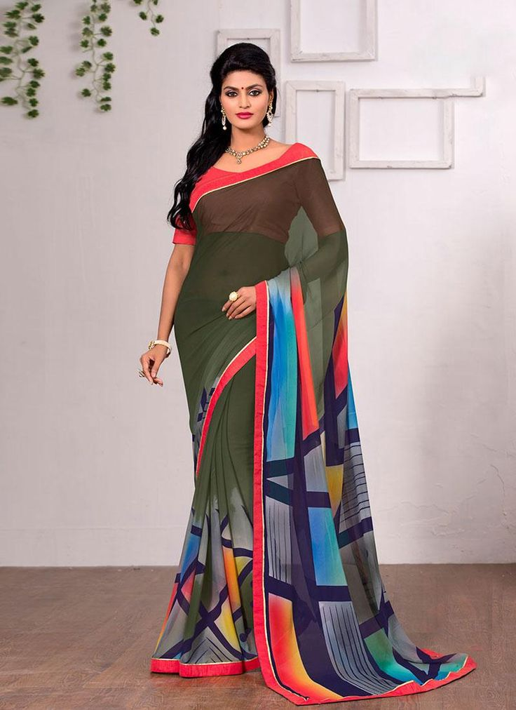 Multi color #printed #saree collection online in India. Contact us: +91 9824678889 Email id: sales@manjaree.in