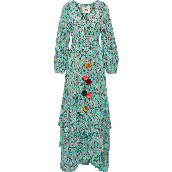 Figue Figue - Frederica Tiered Floral-print Silk Crepe De Chine Maxi... (2,030 CAD) ❤ liked on Polyvore featuring dresses, turquoise, silk maxi dress, tie-dye maxi dresses, boho dresses, boho maxi dress and multi color maxi dress