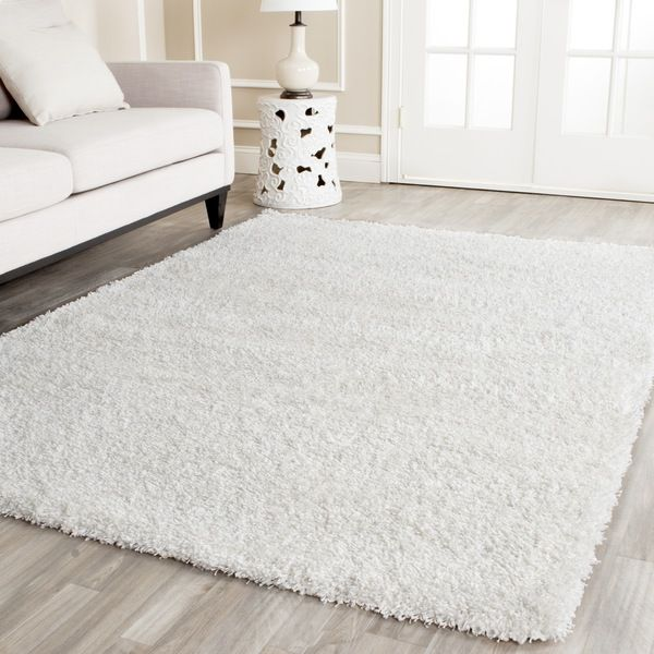 safavieh cozy solid white shag rug overstock shopping great deals on safavieh 7x9 - Fluffy Rugs