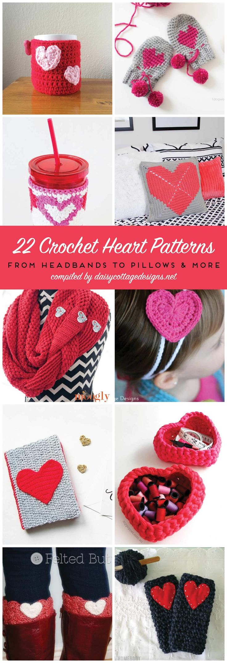 crochet heart patterns   free crochet patterns   Daisy Cottage Designs  These crochet patterns make wonderful gifts for everyone on your list this Valentine's Day!