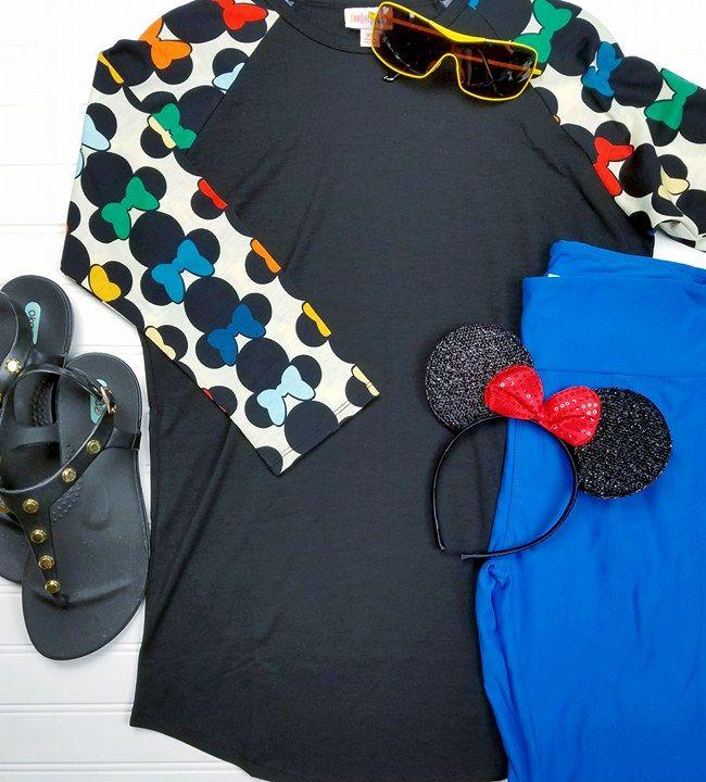 LuLaRoe Sweethearts flay lay outfit styling! LuLaRoe and Disney Randy Raglan Sleeve Baseball Tee, LuLaRoe Leggings, Disney Sunglasses, OkaB Sandals. Fashion Consultant