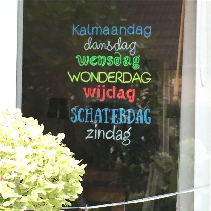 #Krijtstifttekening, #raamtekening #quote dagen van de week #cecielmaakt