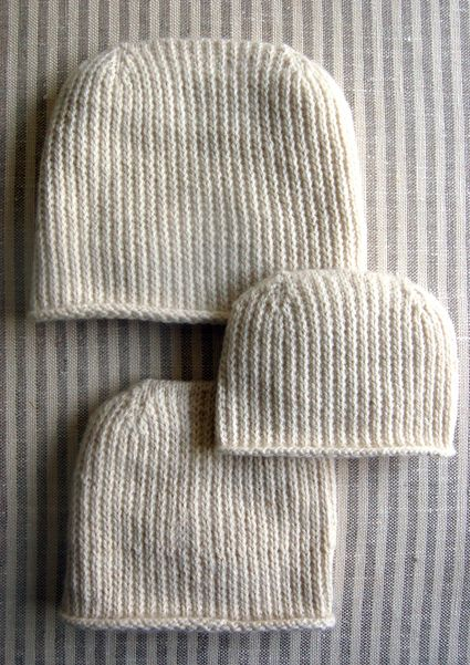 Heel Stitch Hat - I like this better than K1, P1 ribbing.  Pattern Stitch: (for even number of stitches)  Round 1: *Slip 1, K1, repeat from * to end  Round 2: Knit