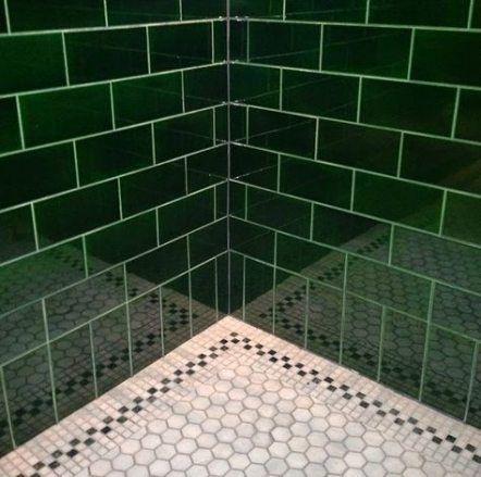 Trendy bathroom green dark subway tiles Ideas