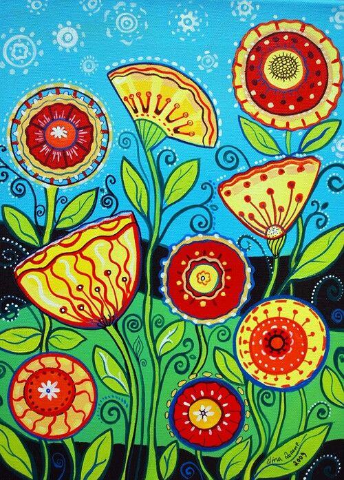 Best 25 folk art flowers ideas on pinterest for Bright flower painting