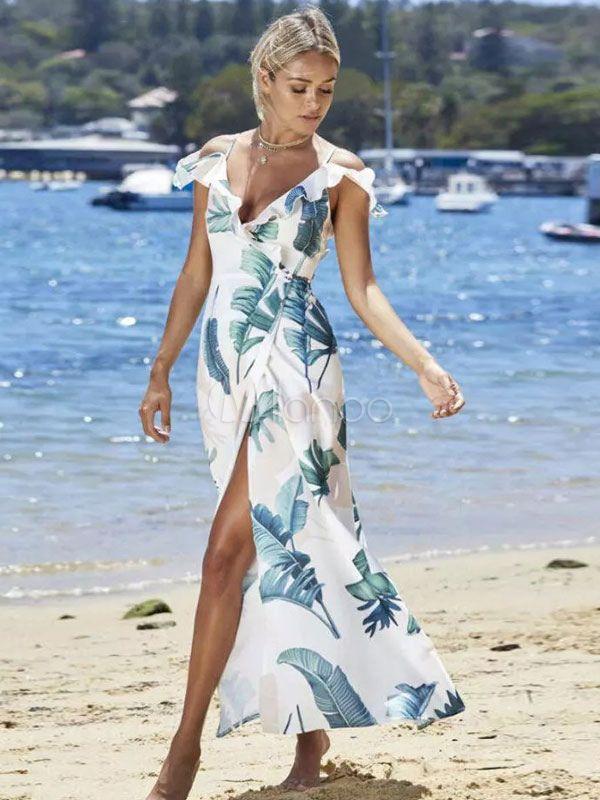 58bad69978 Chiffon Maxi Dress Women Tea Dress Straps Cold Shoulder Leaf Print Split  Long Summer Dress