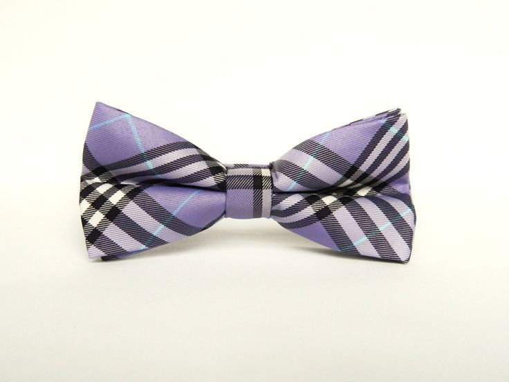 Pre tied bow tie - Brown, blue and white plaid Notch