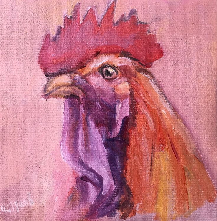 Купить Мини-Картина Петушок холст масло 13 см 13 см. Подарок на Новый год.