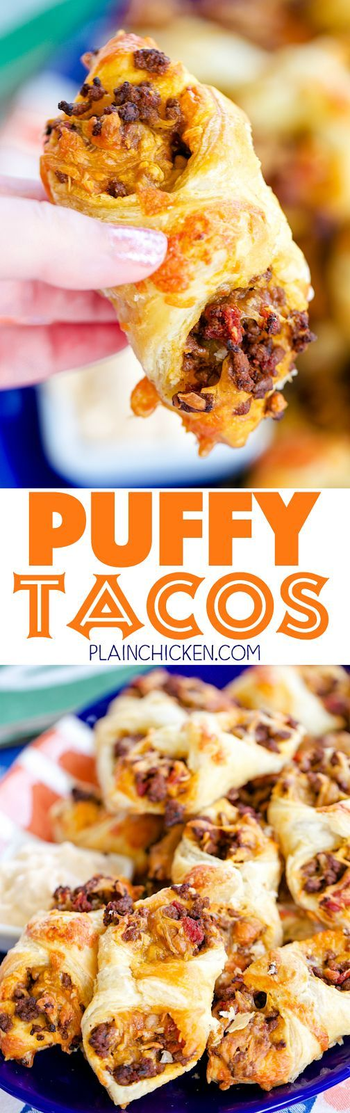 Puffy Tacos - my favorite way to eat tacos! Only 5 ingredients - hamburger, taco seasoning, diced tomatoes and green chiles, cheese and puff pastry. Ready to eat in minutes!! Can make ahead of time and freeze for later. Great for tailgating and parties!