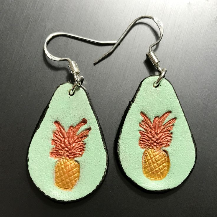 Mint Pineapple Leather Earrings