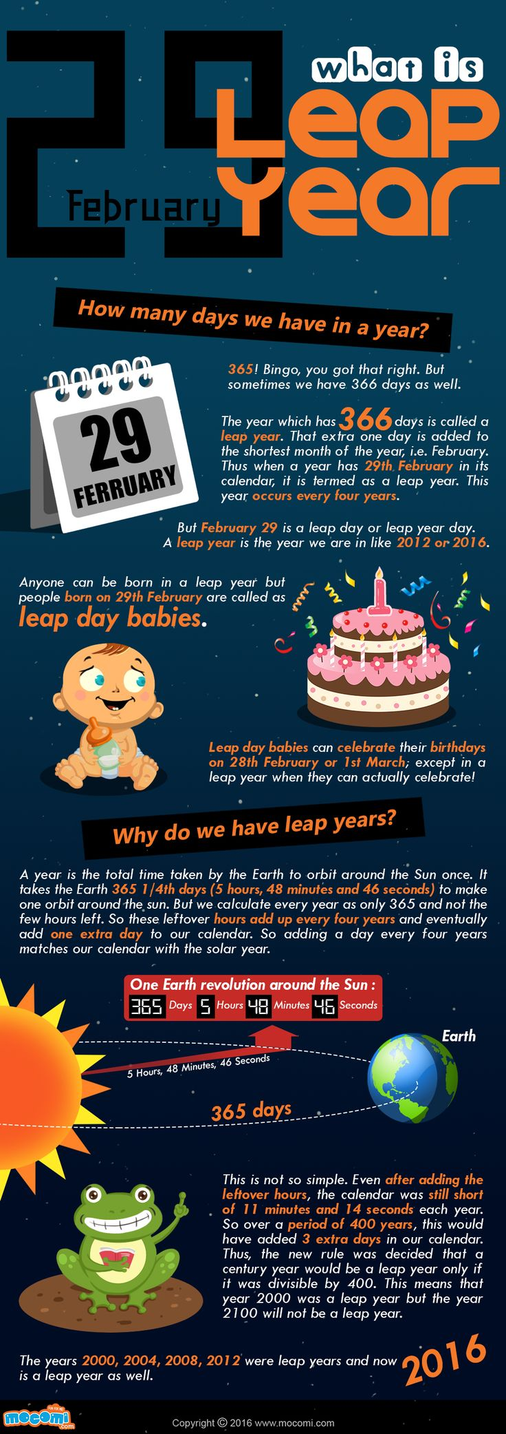 The year which has 366 days is called a #LeapYear. That extra one day is added to the shortest month of the year, i.e. #February. Thus when a year has 29th February in its calendar, it is termed as a leap year. This year occurs every four years.