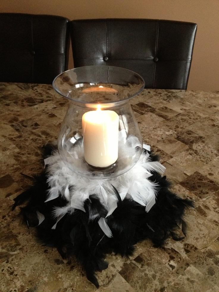 Black and white boa candle holder centerpiece bling