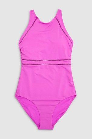 ea7f0a81d40c2 Womens Next Black Rik Rak Sports Swimsuit - Black in 2019   I call ...